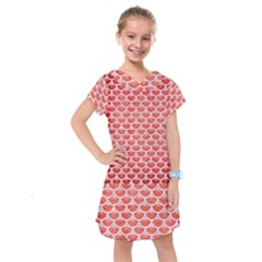 Scales3 White Marble & Red Brushed Metal Kids  Drop Waist Dress