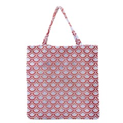 Scales2 White Marble & Red Brushed Metal (r) Grocery Tote Bag by trendistuff