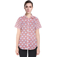 Scales2 White Marble & Red Brushed Metal (r) Women s Short Sleeve Shirt