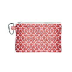Scales2 White Marble & Red Brushed Metal Canvas Cosmetic Bag (small)