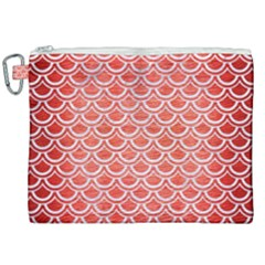 Scales2 White Marble & Red Brushed Metal Canvas Cosmetic Bag (xxl)