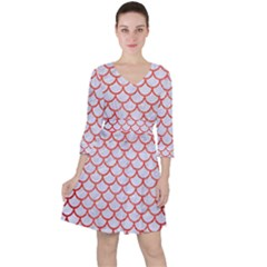 Scales1 White Marble & Red Brushed Metal (r) Ruffle Dress
