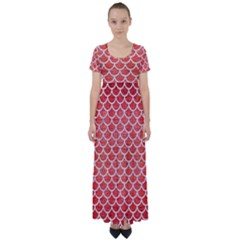 Scales1 White Marble & Red Brushed Metal High Waist Short Sleeve Maxi Dress