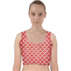 Scales1 White Marble & Red Brushed Metal Velvet Racer Back Crop Top