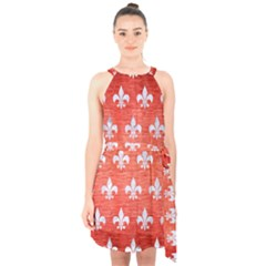 Royal1 White Marble & Red Brushed Metal (r) Halter Collar Waist Tie Chiffon Dress