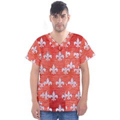 Royal1 White Marble & Red Brushed Metal (r) Men s V Neck Scrub Top