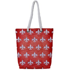 Royal1 White Marble & Red Brushed Metal (r) Full Print Rope Handle Tote (small)