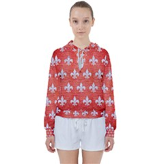 Royal1 White Marble & Red Brushed Metal (r) Women s Tie Up Sweat
