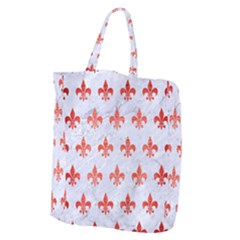 Royal1 White Marble & Red Brushed Metal Giant Grocery Zipper Tote