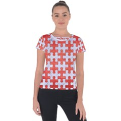 Puzzle1 White Marble & Red Brushed Metal Short Sleeve Sports Top