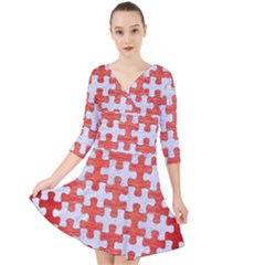 Puzzle1 White Marble & Red Brushed Metal Quarter Sleeve Front Wrap Dress