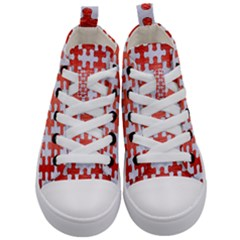 Puzzle1 White Marble & Red Brushed Metal Kid s Mid Top Canvas Sneakers