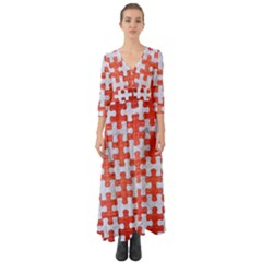 Puzzle1 White Marble & Red Brushed Metal Button Up Boho Maxi Dress