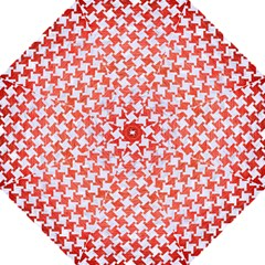 Houndstooth2 White Marble & Red Brushed Metal Folding Umbrellas by trendistuff