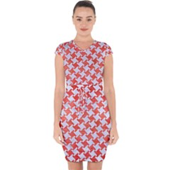 Houndstooth2 White Marble & Red Brushed Metal Capsleeve Drawstring Dress