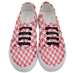 Houndstooth2 White Marble & Red Brushed Metal Women s Classic Low Top Sneakers