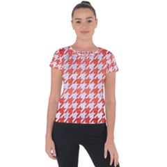 Houndstooth1 White Marble & Red Brushed Metal Short Sleeve Sports Top