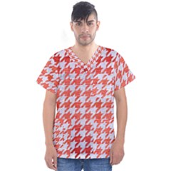 Houndstooth1 White Marble & Red Brushed Metal Men s V Neck Scrub Top