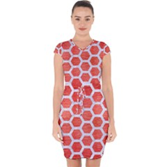 Hexagon2 White Marble & Red Brushed Metal Capsleeve Drawstring Dress