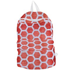 Hexagon2 White Marble & Red Brushed Metal Foldable Lightweight Backpack