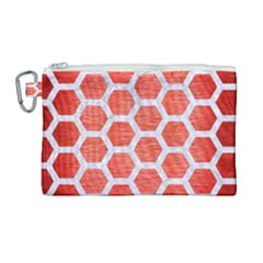 Hexagon2 White Marble & Red Brushed Metal Canvas Cosmetic Bag (large)