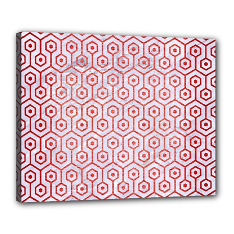 Hexagon1 White Marble & Red Brushed Metal (r) Canvas 20  X 16  by trendistuff
