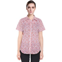 Hexagon1 White Marble & Red Brushed Metal (r) Women s Short Sleeve Shirt