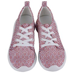 Hexagon1 White Marble & Red Brushed Metal (r) Women s Lightweight Sports Shoes