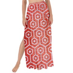 Hexagon1 White Marble & Red Brushed Metal Maxi Chiffon Tie Up Sarong