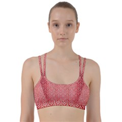 Hexagon1 White Marble & Red Brushed Metal Line Them Up Sports Bra