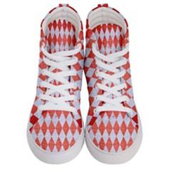 Diamond1 White Marble & Red Brushed Metal Women s Hi Top Skate Sneakers