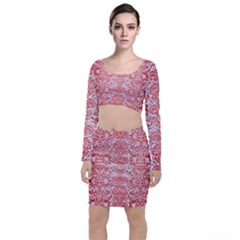 Damask2 White Marble & Red Brushed Metal (r) Long Sleeve Crop Top & Bodycon Skirt Set