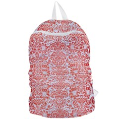 Damask2 White Marble & Red Brushed Metal (r) Foldable Lightweight Backpack