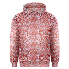 Damask2 White Marble & Red Brushed Metal (r) Men s Overhead Hoodie