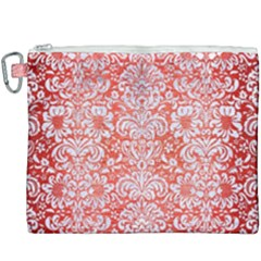 Damask2 White Marble & Red Brushed Metal Canvas Cosmetic Bag (xxxl)