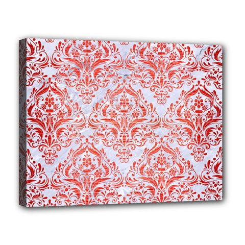 Damask1 White Marble & Red Brushed Metal (r) Canvas 14  X 11  by trendistuff