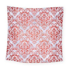 Damask1 White Marble & Red Brushed Metal (r) Square Tapestry (large) by trendistuff