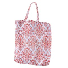Damask1 White Marble & Red Brushed Metal (r) Giant Grocery Zipper Tote