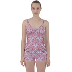 Damask1 White Marble & Red Brushed Metal (r) Tie Front Two Piece Tankini