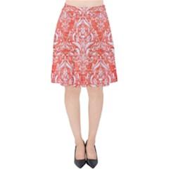 Damask1 White Marble & Red Brushed Metal Velvet High Waist Skirt