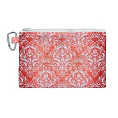Damask1 White Marble & Red Brushed Metal Canvas Cosmetic Bag (large)