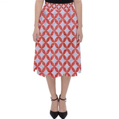 Circles3 White Marble & Red Brushed Metal (r) Folding Skater Skirt