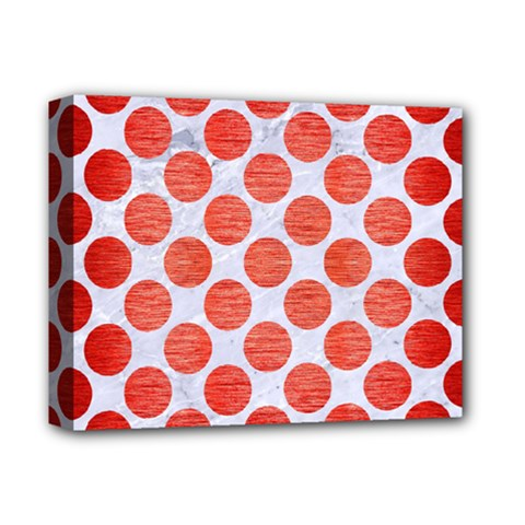 Circles2 White Marble & Red Brushed Metal (r) Deluxe Canvas 14  X 11  by trendistuff