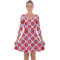 Circles2 White Marble & Red Brushed Metal (r) Quarter Sleeve Skater Dress