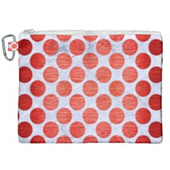 Circles2 White Marble & Red Brushed Metal (r) Canvas Cosmetic Bag (xxl) by trendistuff