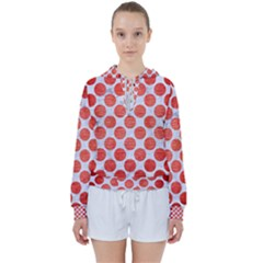 Circles2 White Marble & Red Brushed Metal (r) Women s Tie Up Sweat
