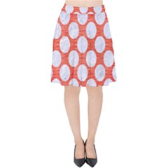 Circles2 White Marble & Red Brushed Metal Velvet High Waist Skirt