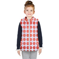Circles1 White Marble & Red Brushed Metal (r) Kid s Hooded Puffer Vest