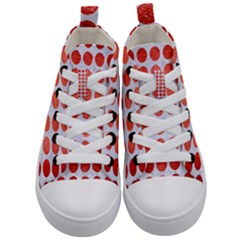 Circles1 White Marble & Red Brushed Metal (r) Kid s Mid Top Canvas Sneakers