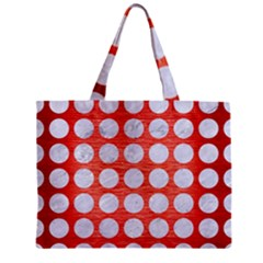 Circles1 White Marble & Red Brushed Metal Zipper Mini Tote Bag by trendistuff